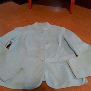 Talbots aqua blue stretch Jacket long sleeve sz 14